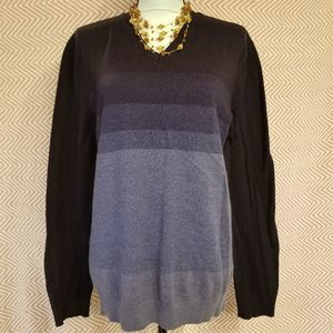 Calvin Klein Ombre Color Striped Knit Sweater XL